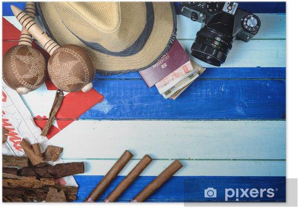Plakat Cygara Kuba i instrumentów muzycznych - Tematy