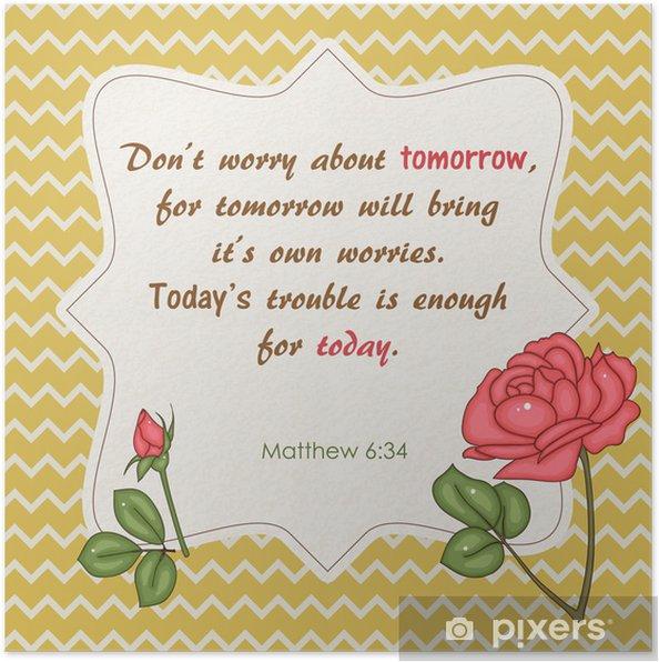 Plakat Cytat Z Biblii Nie Martw Się O Jutro
