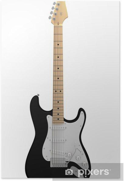 Plakat Czarna gitara elektryczna - Muzyka