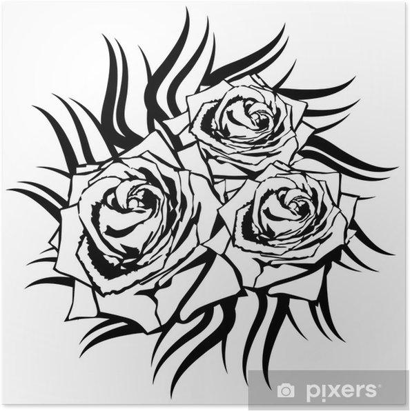 Plakat Czarna Róża Na Białym Tle Element Tatuaż