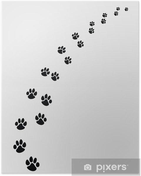 Plakat Czarne ślady psów, skręcić w prawo-vector ilustracji - Style