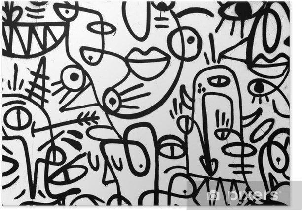 Plakat Czarno-białe graffiti wzór na wall.spain, jerez, styczeń 2018. ciekawe tła - Zasoby graficzne