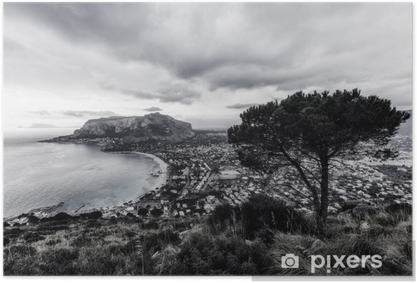 Plakat Czarno-białe mondello bay na Sycylii, Włochy - Krajobrazy