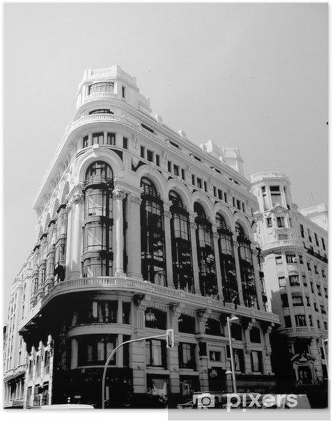 Plakat Czarno-biały madrid1 - Pejzaż miejski