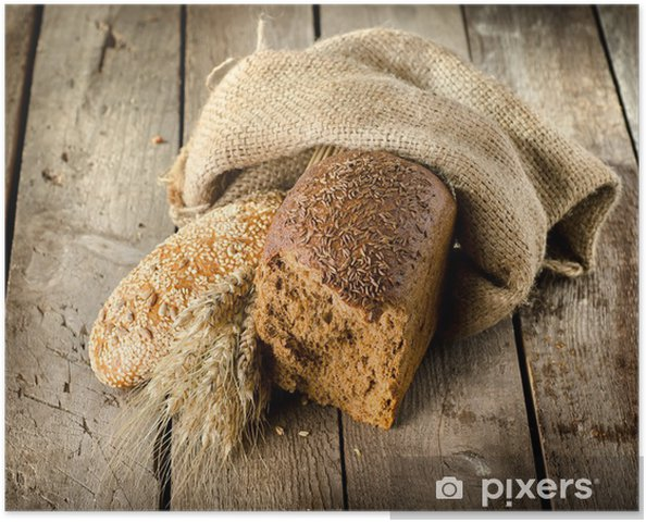 Plakat Czarny chleb na stole - Ryż