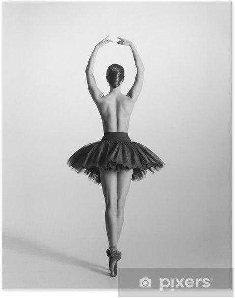 Plakat Czarny i biały ślad tancerz baletu topless - Bielizna