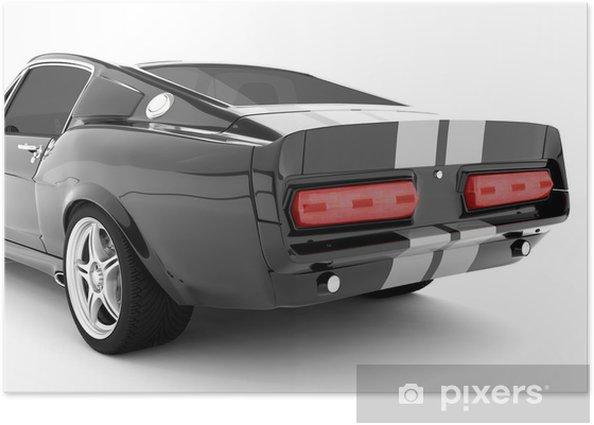 Plakat Czarny klasyczny samochód sportowy - Criteo
