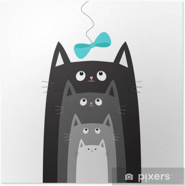 Plakat Czarny Szary Kot Patrząc Na Niebieski łuk Wisi Na Wątku Koty Z Rzędu Inny Rozmiar Zestaw Rodzinny Znaków ładny Karta Do Zbierania Dla