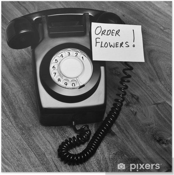 Plakat Czarny Telefon Retro Z Notatkę Na Zamówienie Kwiaty