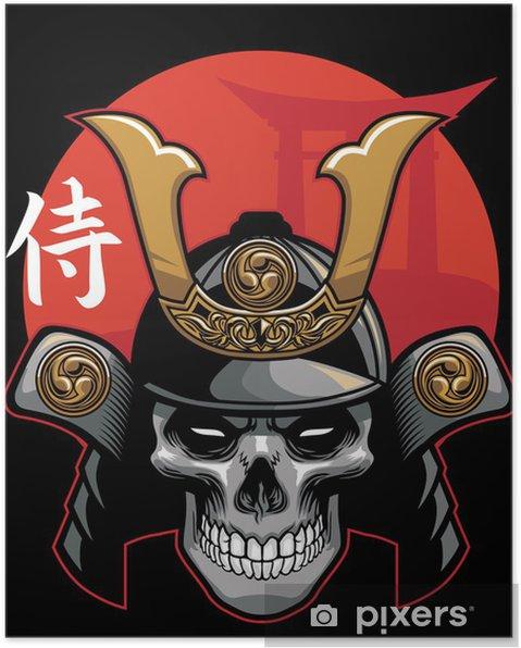 Plakat Czaszka na sobie zbroję samuraja - Azja