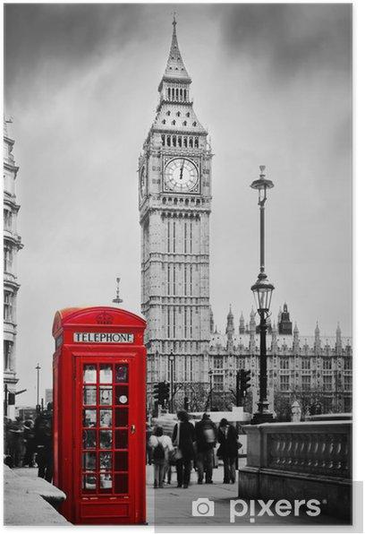 Plakat Czerwona budka telefoniczna i Big Ben w Londynie, Anglii, Wielkiej Brytanii -