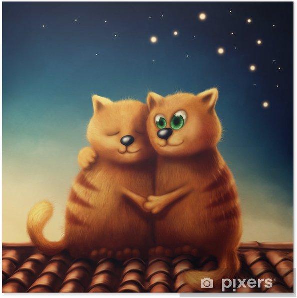 Plakat Czerwone koty w miłości - Zwierzęta