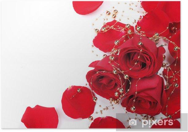 Plakat Czerwone płatki róż z koralikami - Kwiaty