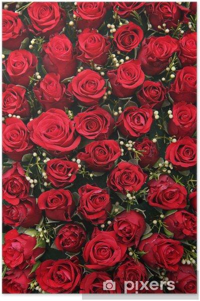 Plakat Czerwone róże i małe białe jagody - Świętowanie