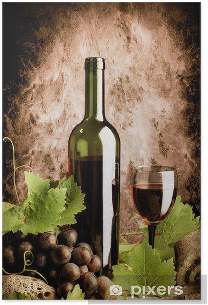 Plakat Czerwone wino życia w starym stylu z grunge tle ściany - Tematy