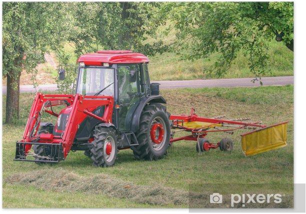 Plakat Czerwony ciągnik - Rolnictwo