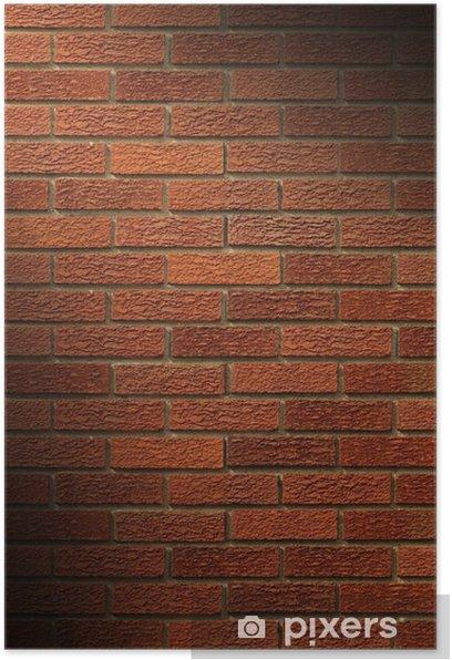 Plakat Czerwony mur z cegły świeci po przekątnej - Tła