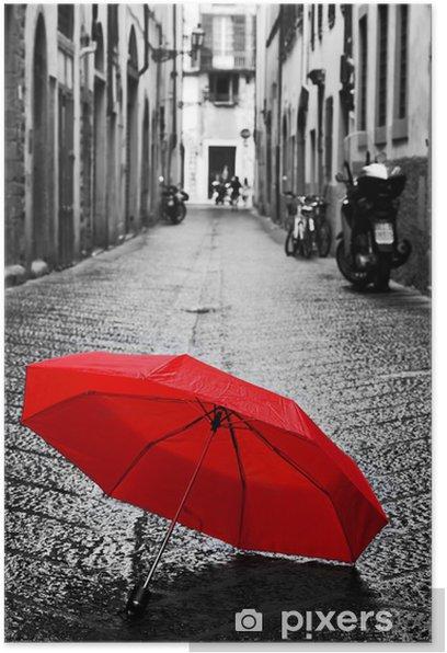 Plakat Czerwony parasol na brukowanej ulicy w starej części miasta. Wiatr i deszcz - Inne uczucia