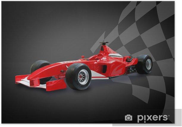 Plakat Czerwony samochód Formuły i flaga wyścigów - Tematy