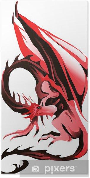 Plakat Czerwony Smok - Naklejki na ścianę