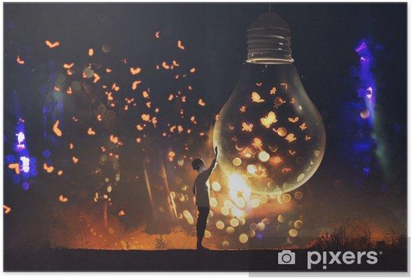 Plakat Człowiek i duża żarówka z świecące motyle w środku, ilustracja malarstwo - Hobby i rozrywka