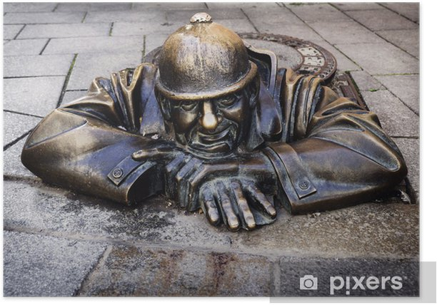 Plakat Człowiek w pracy, Bratysława, Słowacja - Europa