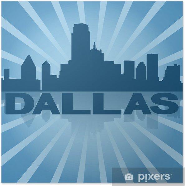 Plakát Dallas panorama odráží s modrým sunburst ilustrační -
