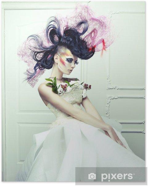 Plakat Dama z awangardowym włosy - Moda