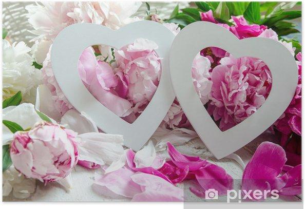 Plakat Dekoracje ślubne: Dwa serca i piwonie :) - Świętowanie