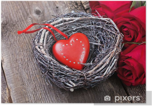 Plakat Dekoracji Valentine z czerwonym sercem, czerwone róże - Święta międzynarodowe