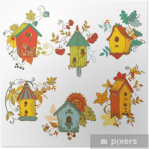 Plakat Dekoracyjne gałęzie Jesień Birdhouses-for scrapbook-vector - Ptaki