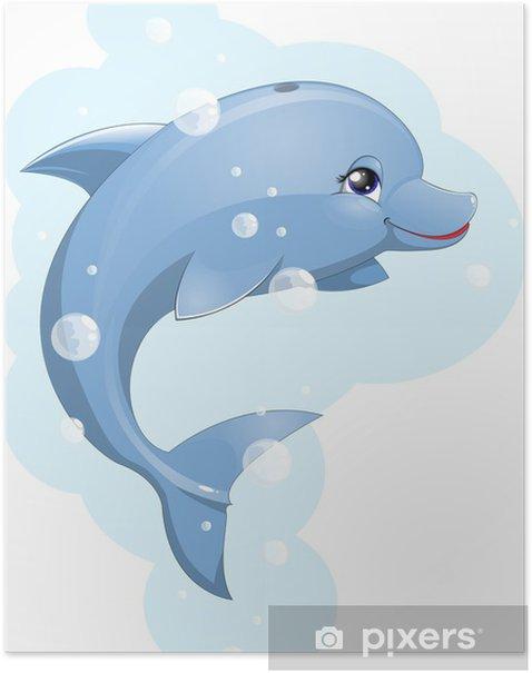 Plakat Delfin - Naklejki na ścianę