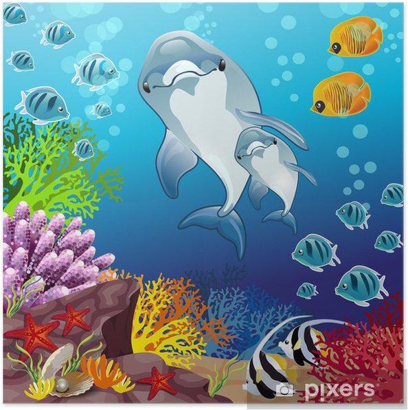 Plakat Delfiny na dnie morza - Tematy