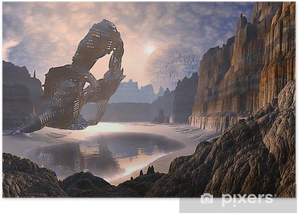 Plakat Derelict Spaceship rozbił się na dalekim świecie - Przestrzeń kosmiczna