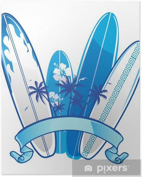 Plakat Deska surfingowa tle - Drzewa i liście