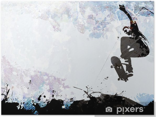 Plakat Deskorolce grunge układ - Skateboarding