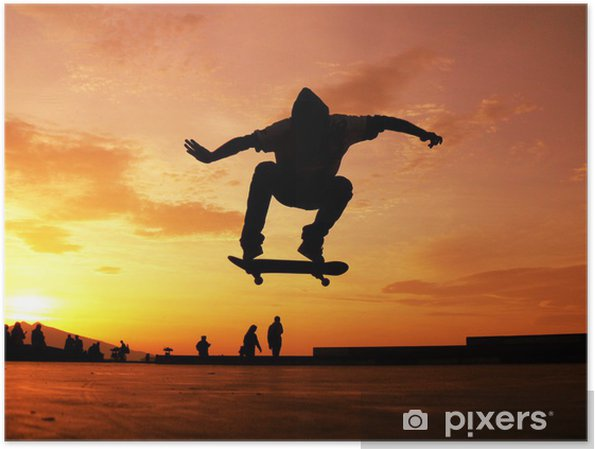 Plakat Deskorolka sylwetka - Skateboarding