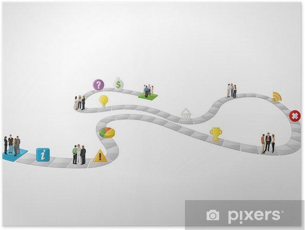 Plakát Desková hra s obchodními lidí nad cestě. - Prvky podnikání