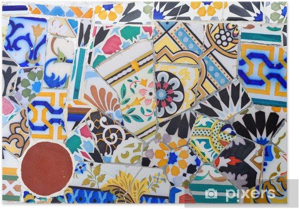 Plakat Detail Mozaika w parku Guell w Barcelonie - Miasta europejskie