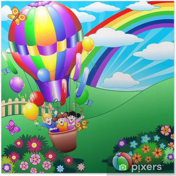 Plakát Děti si hrají v balónu-Děti si hrají ve Fire Balloon - Vzduch