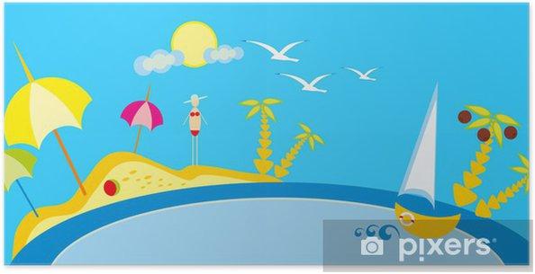 Plakat Detska Kresba Plaz A More Slunce A Nebe Pixers Zijeme