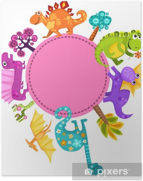 Plakat Dino karta - Fikcyjne zwierzęta