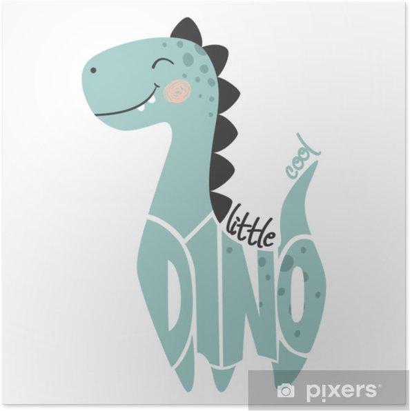 Plakat Dinozaur Chłopca Uroczy Drukuj Mały Fajny Slogan Dino I Napis