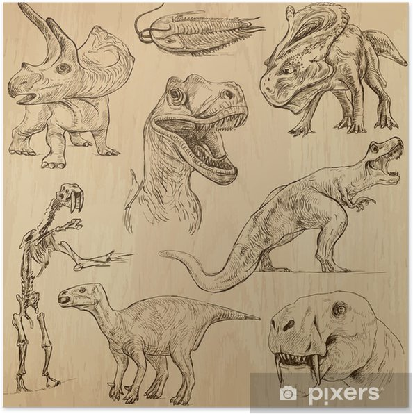 Plakat Dinozaury nr 3 - ręcznie rysowane ilustracje, wektor zestaw - Inne Inne
