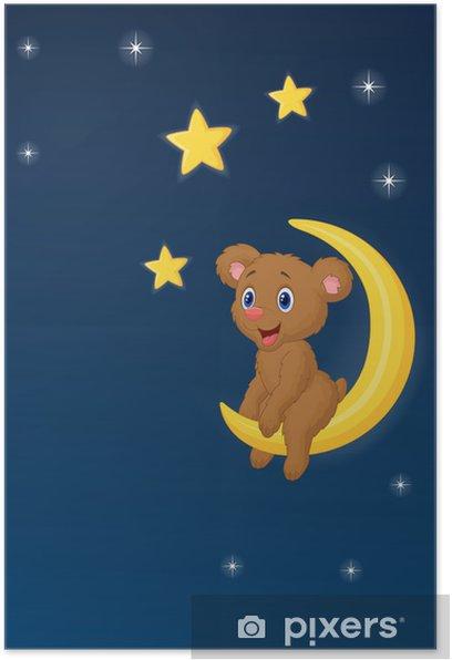 Plakát Dítě medvěd sedící na Měsíci - Pro předškolačku