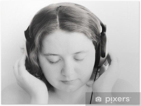 Plakát Dívka, poslech sluchátka - Žena