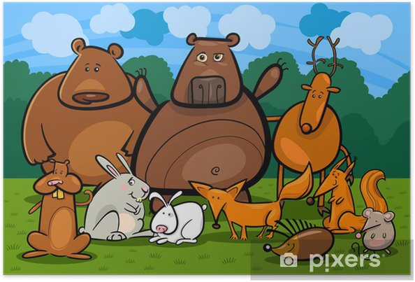Plakát Divoká lesní zvířata skupina kreslené ilustrace - Savci