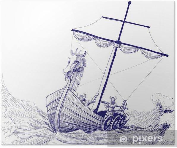 Plakat Dlouha Lod Drakkar Kresba Tuzkou Pixers Zijeme Pro Zmenu