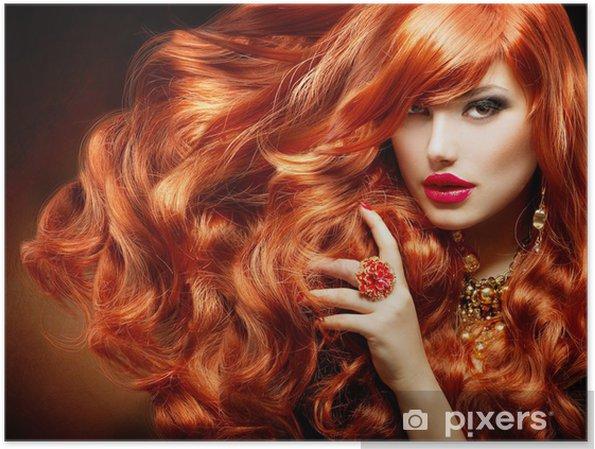 Plakat Długie kręcone rude włosy. Portret kobiety mody - Moda