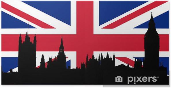 Plakát Domy parlamentu a Union Jack - Evropská města